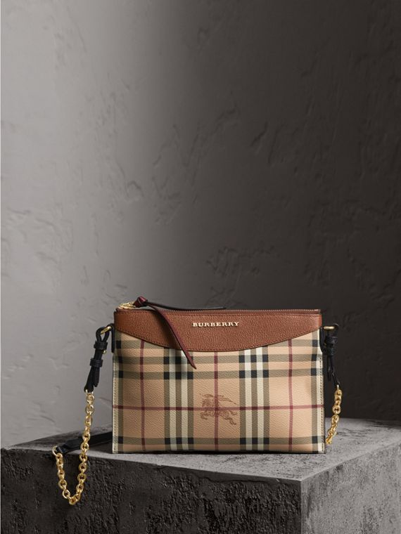 Haymarket Check and Two-tone Leather Clutch Bag in Bright Toffee/ Multicolour - Women | Burberry