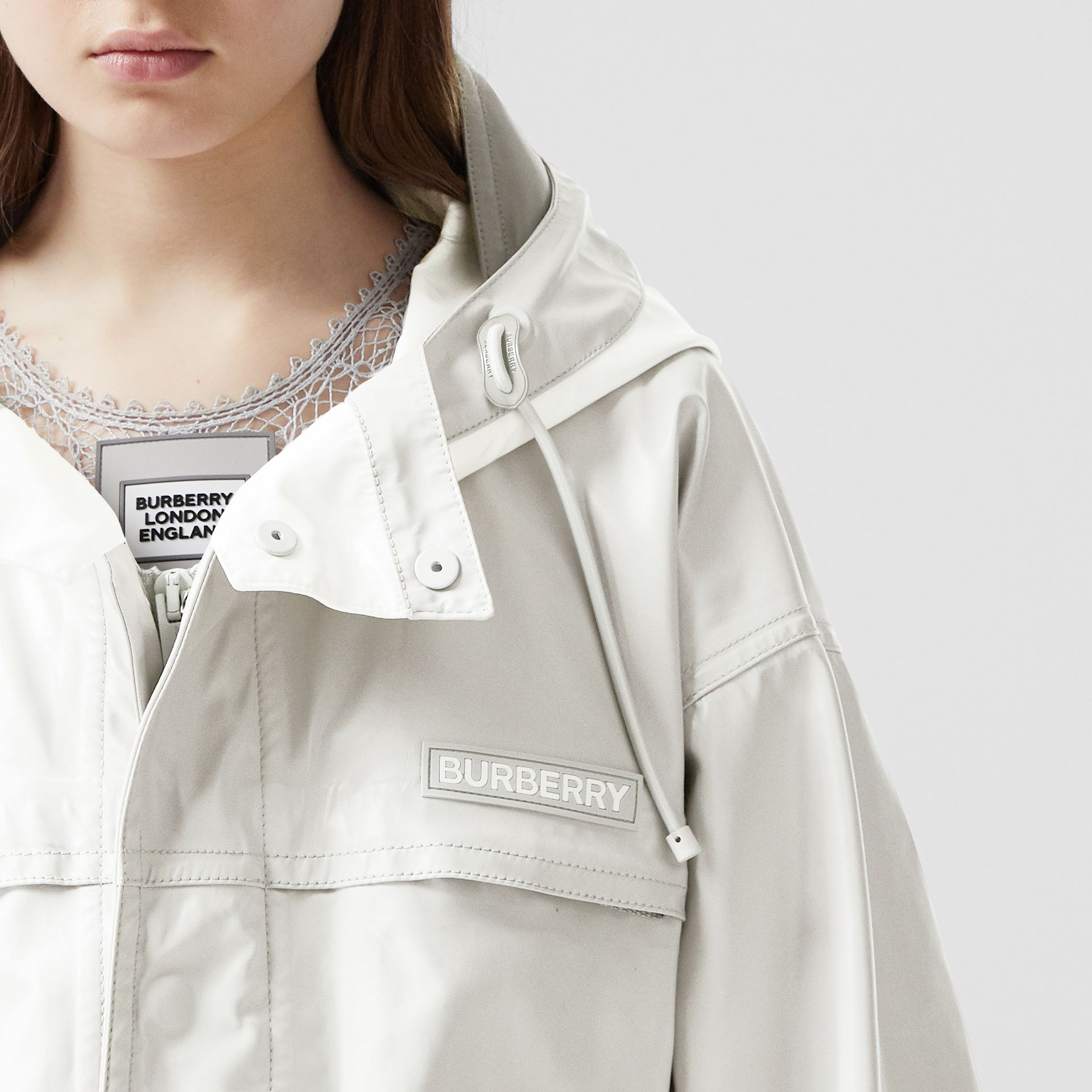 Cut-out Hem Coated Nylon Parka in Light Pebble Grey - Women | Burberry United Kingdom - gallery image 6