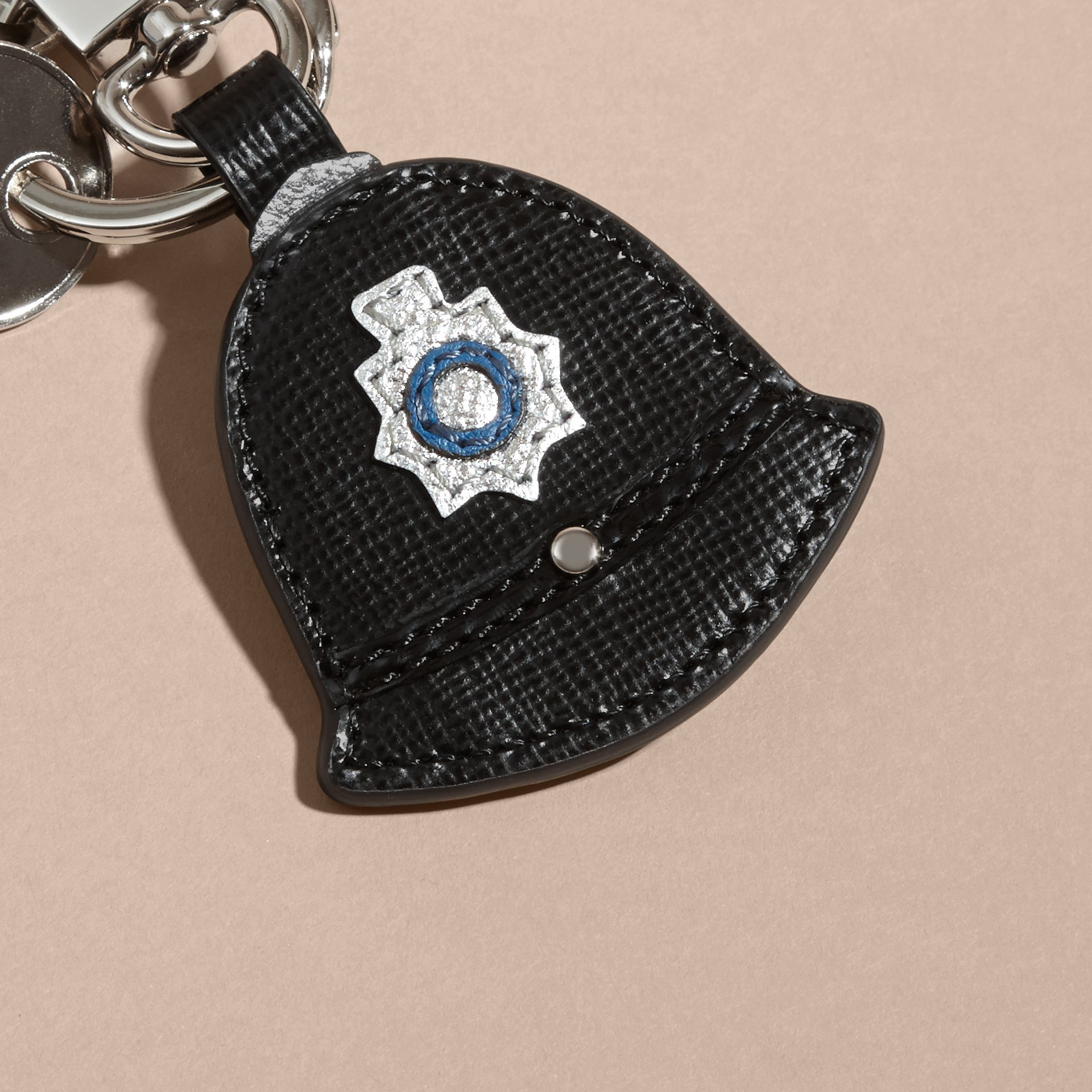 Black Policeman Hat Key Ring in Leather - gallery image 2