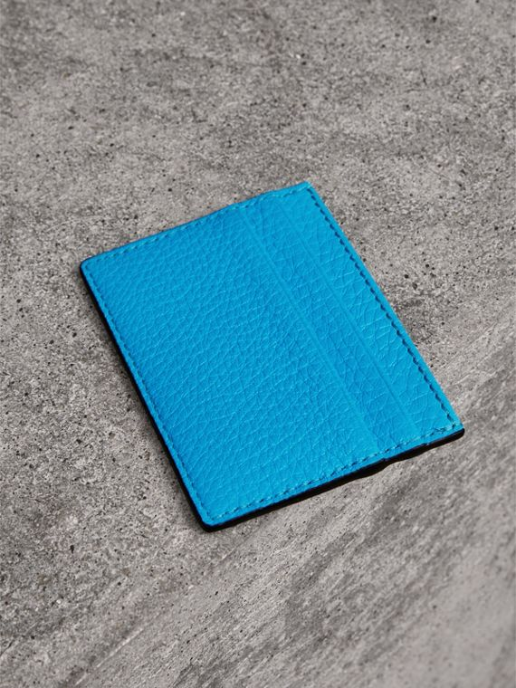 Embossed Textured Leather Card Case in Neon Blue | Burberry - cell image 2