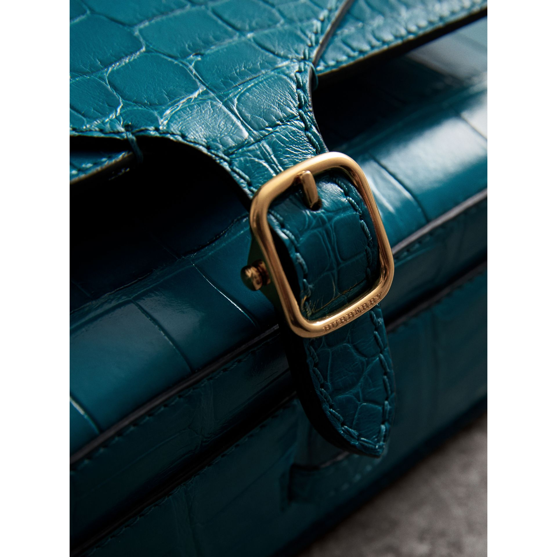 The Square Satchel in Alligator in Dark Teal - Women | Burberry - gallery image 2
