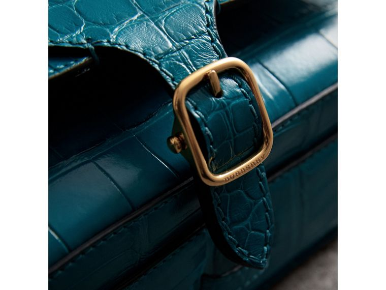 The Square Satchel in Alligator in Dark Teal - Women | Burberry United Kingdom - cell image 1