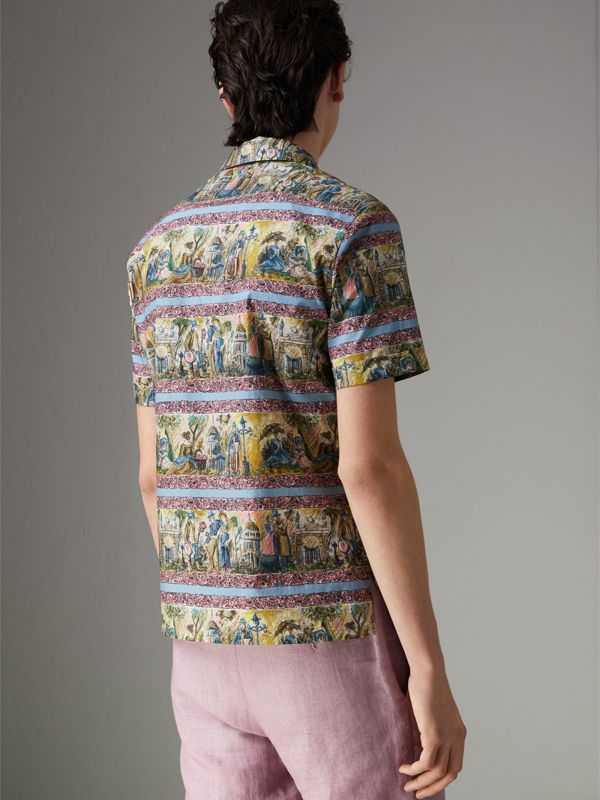 Short-sleeve Figurative Print Shirt in Turquoise Green - Men | Burberry - cell image 2