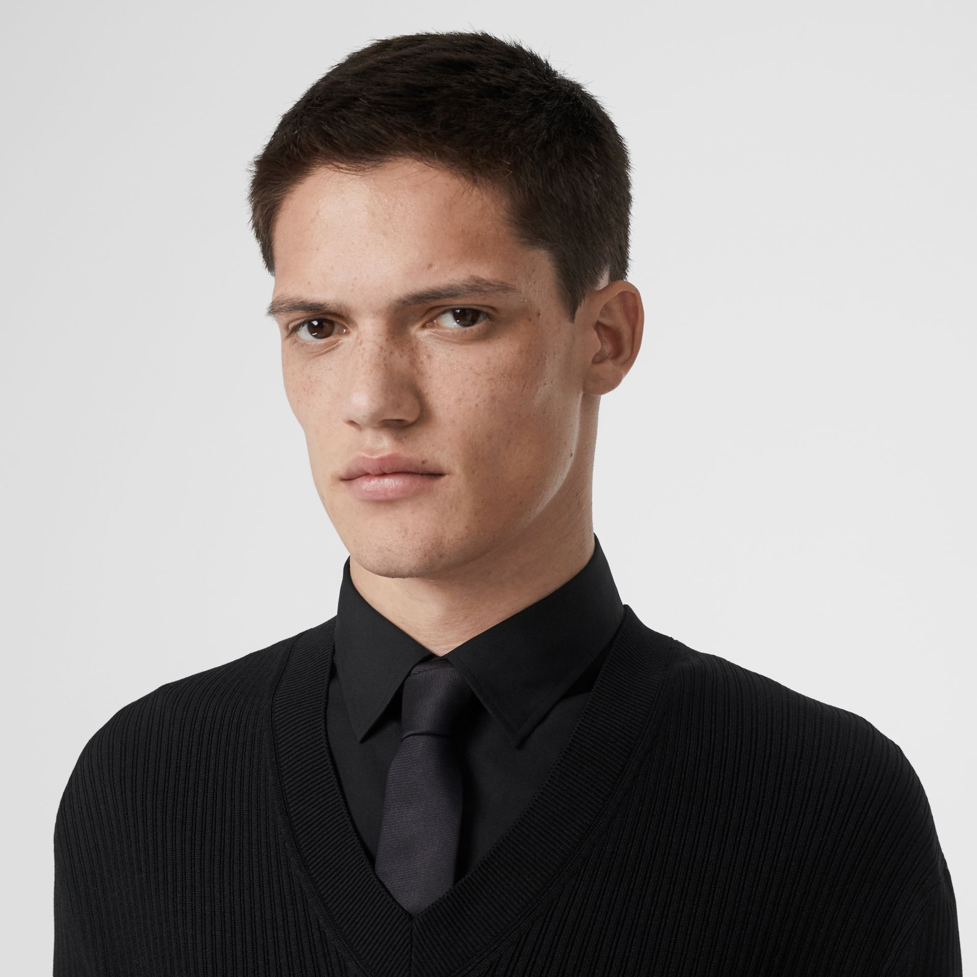Tailored Panel Rib Knit Silk Blend Sweater in Black | Burberry Australia - gallery image 1