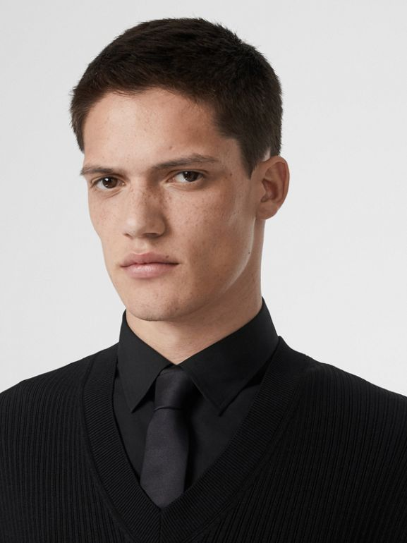 Tailored Panel Rib Knit Silk Blend Sweater in Black | Burberry Australia - cell image 1