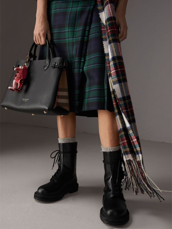 The Medium Banner in Leather and House Check in Black - Women | Burberry - cell image 3