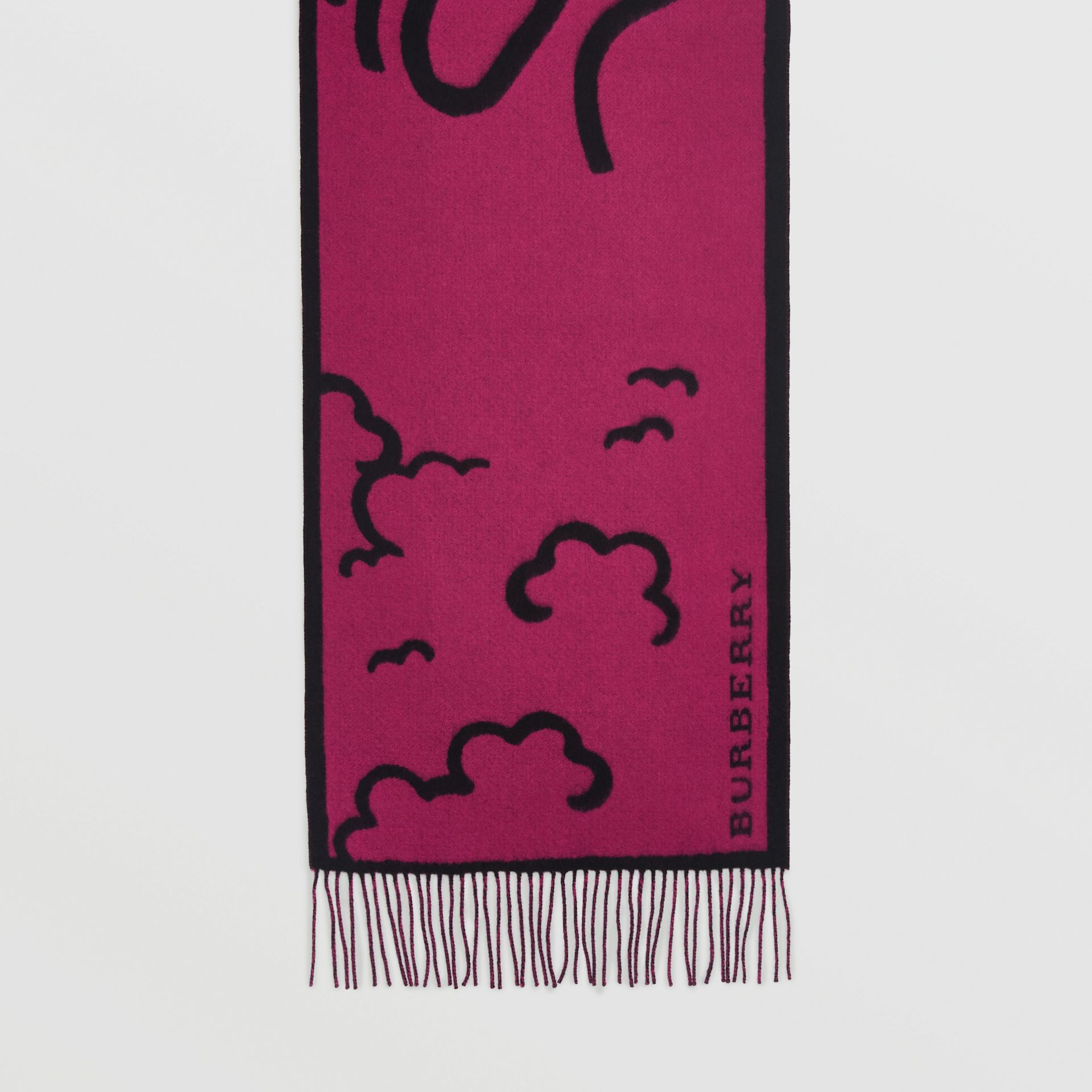 London Street Art Wool Cashmere Jacquard Scarf in Plum Pink | Burberry Hong Kong - gallery image 4