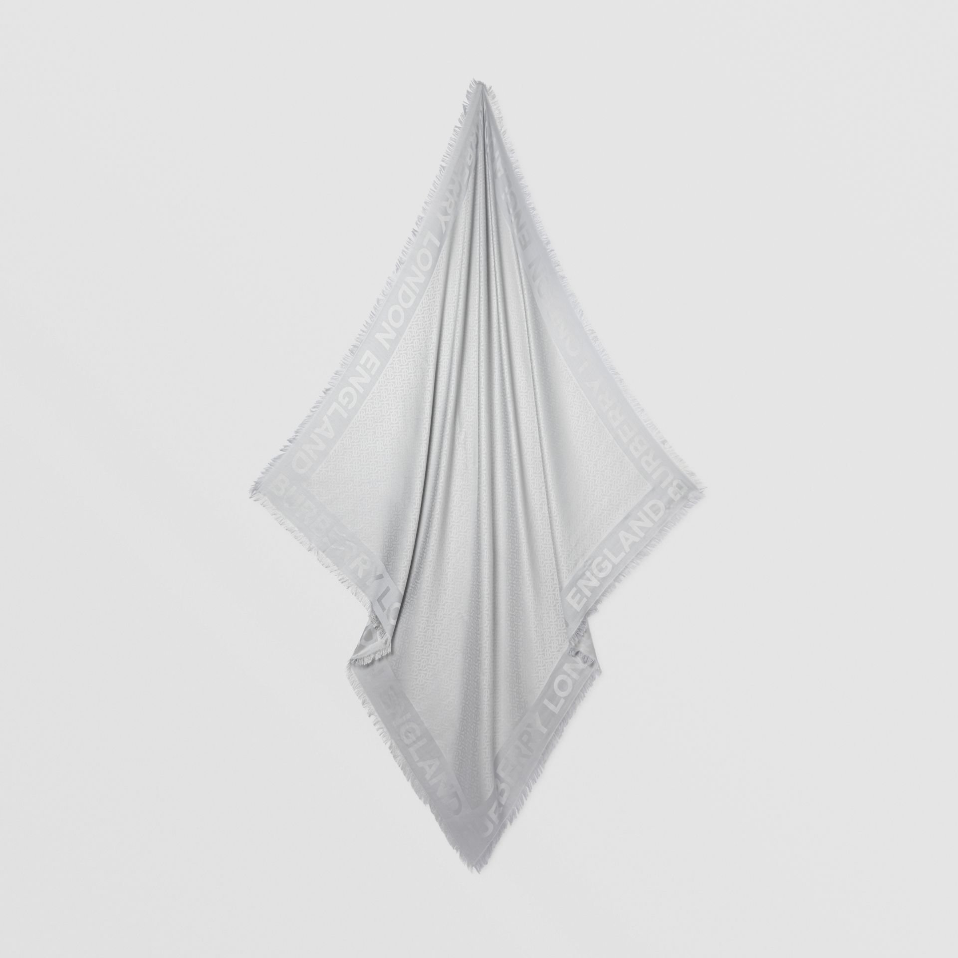 Crystal Pinstriped Silk Wool Large Square Scarf in Light Pebble Grey - Women | Burberry United Kingdom - gallery image 4