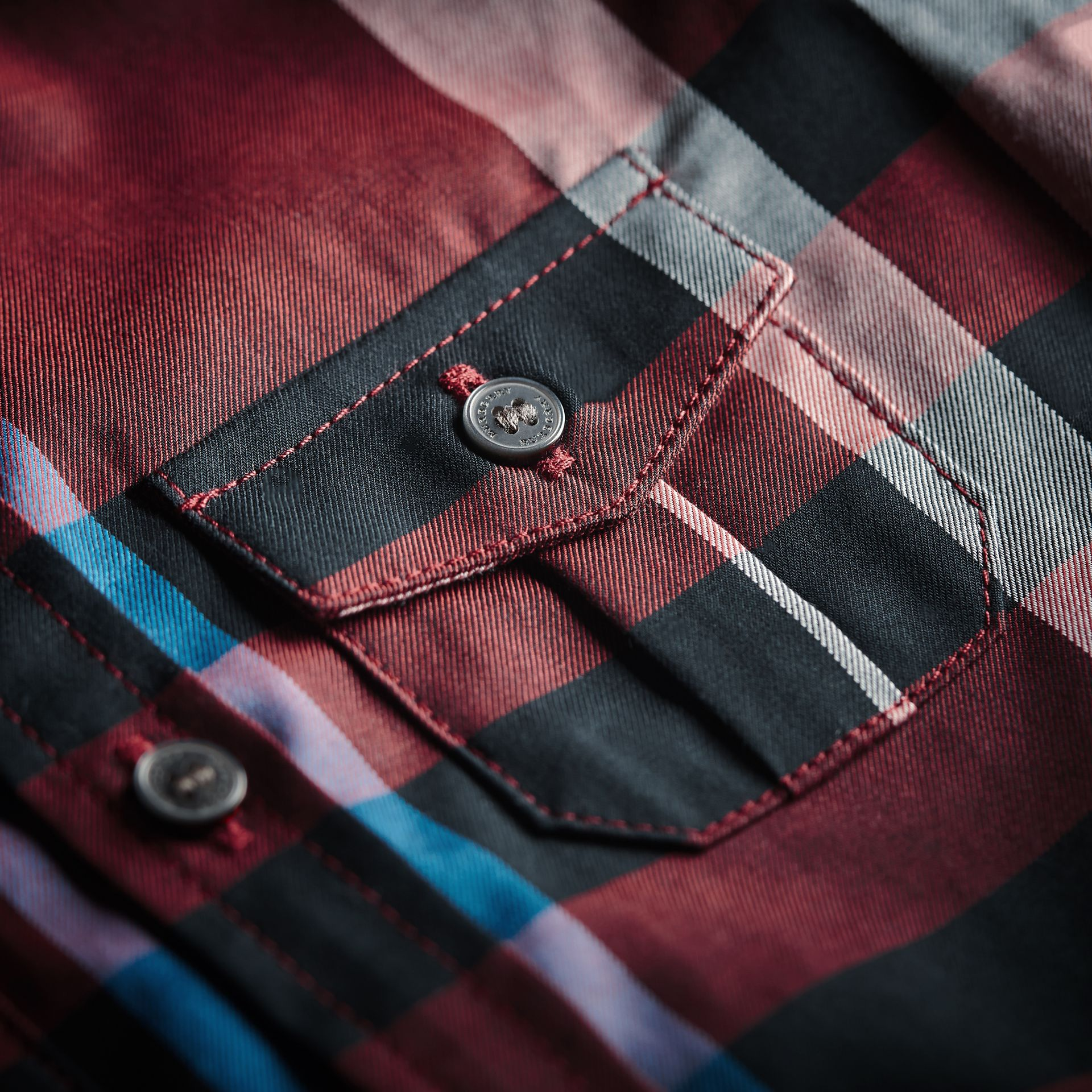 Check Cotton Shirt in Carmine Red | Burberry - gallery image 2