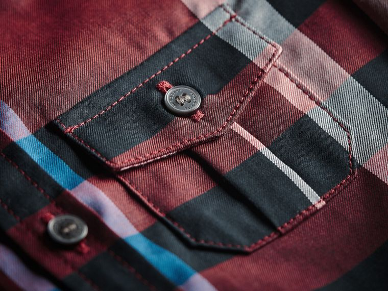 Check Cotton Shirt in Carmine Red | Burberry Canada - cell image 1