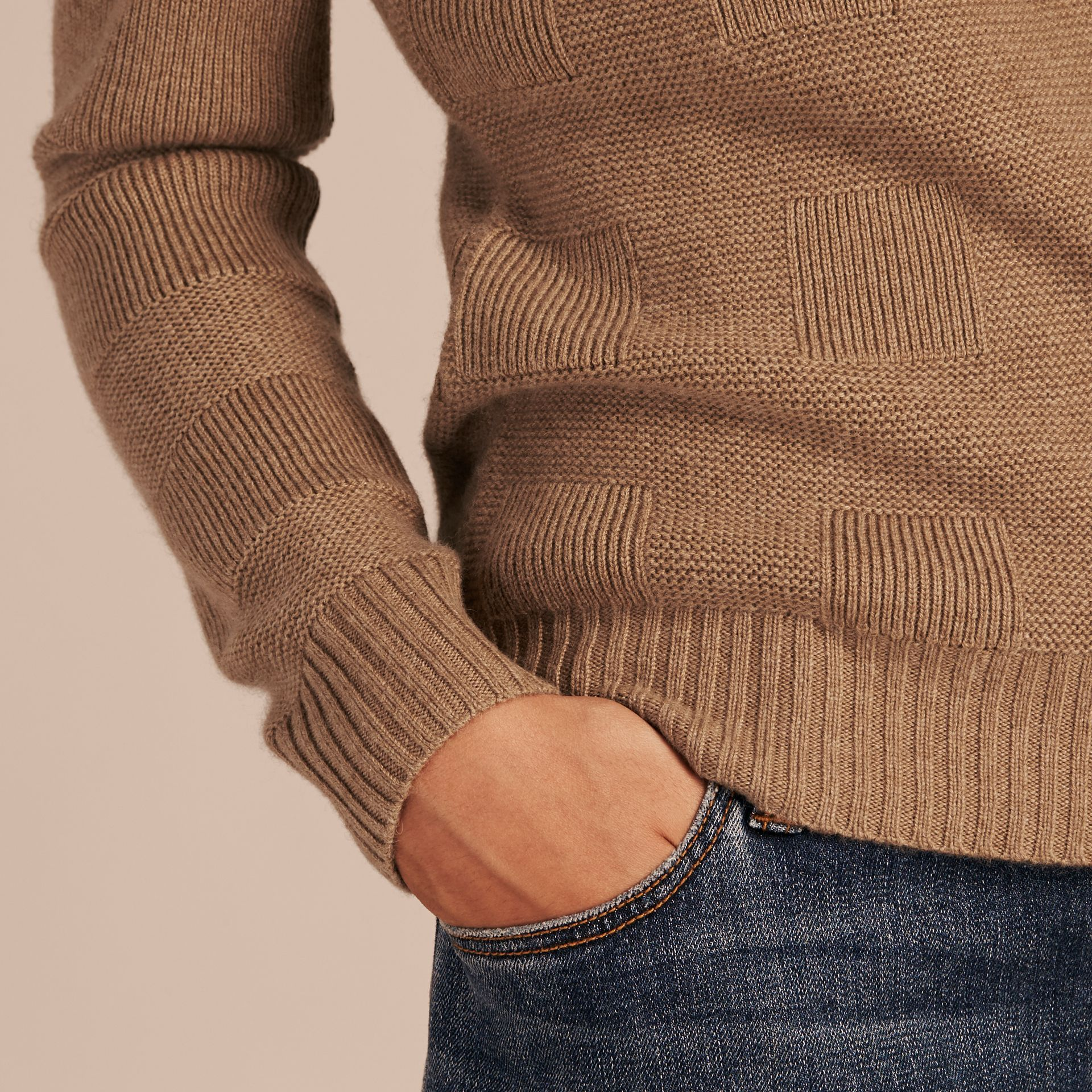Check-knit Wool Cashmere Sweater in Camel - gallery image 5