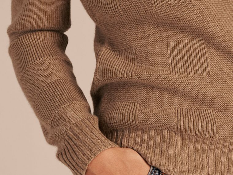 Check-knit Wool Cashmere Sweater Camel - cell image 4