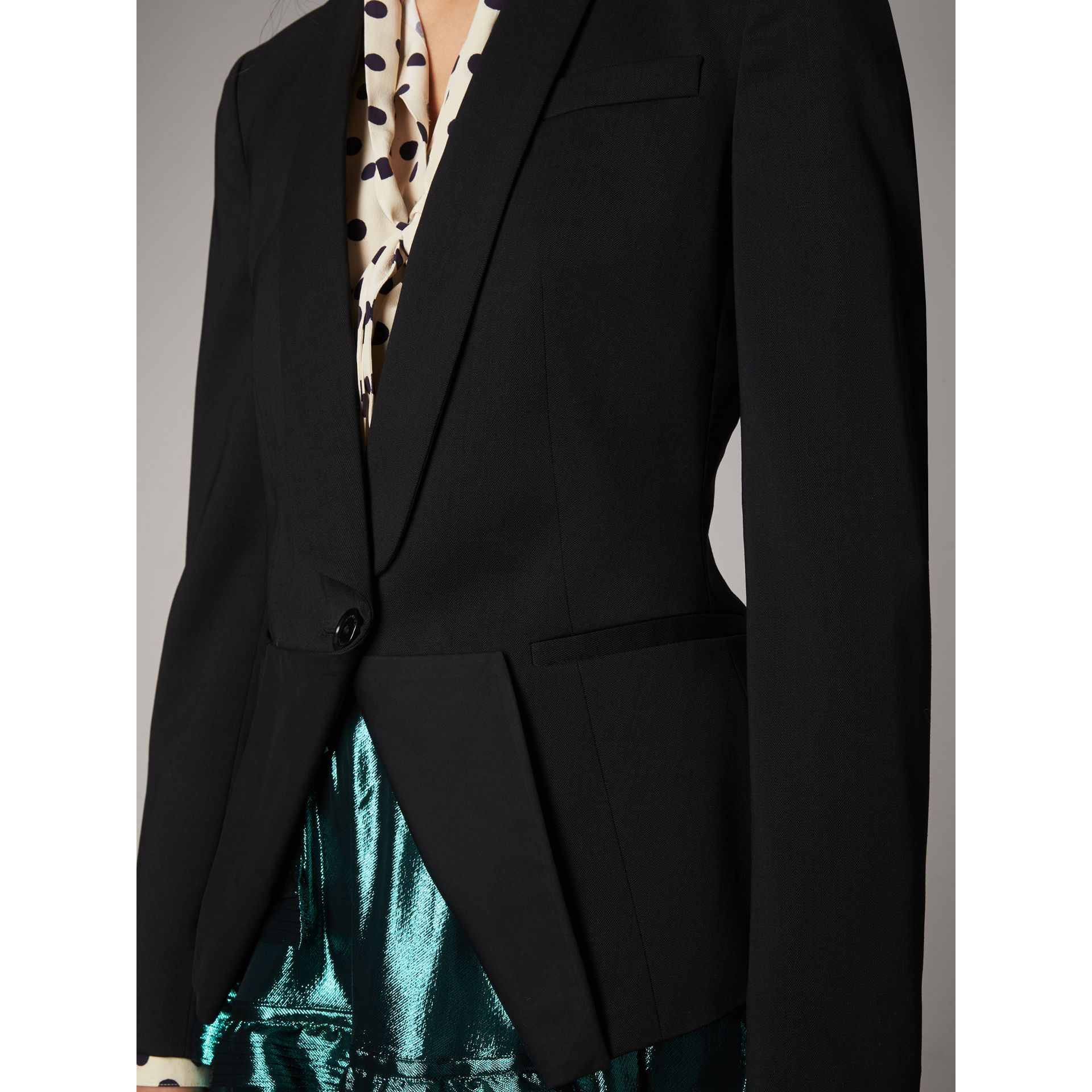 Cinched-waist Cotton Twill Tailored Jacket in Black - Women | Burberry - gallery image 1