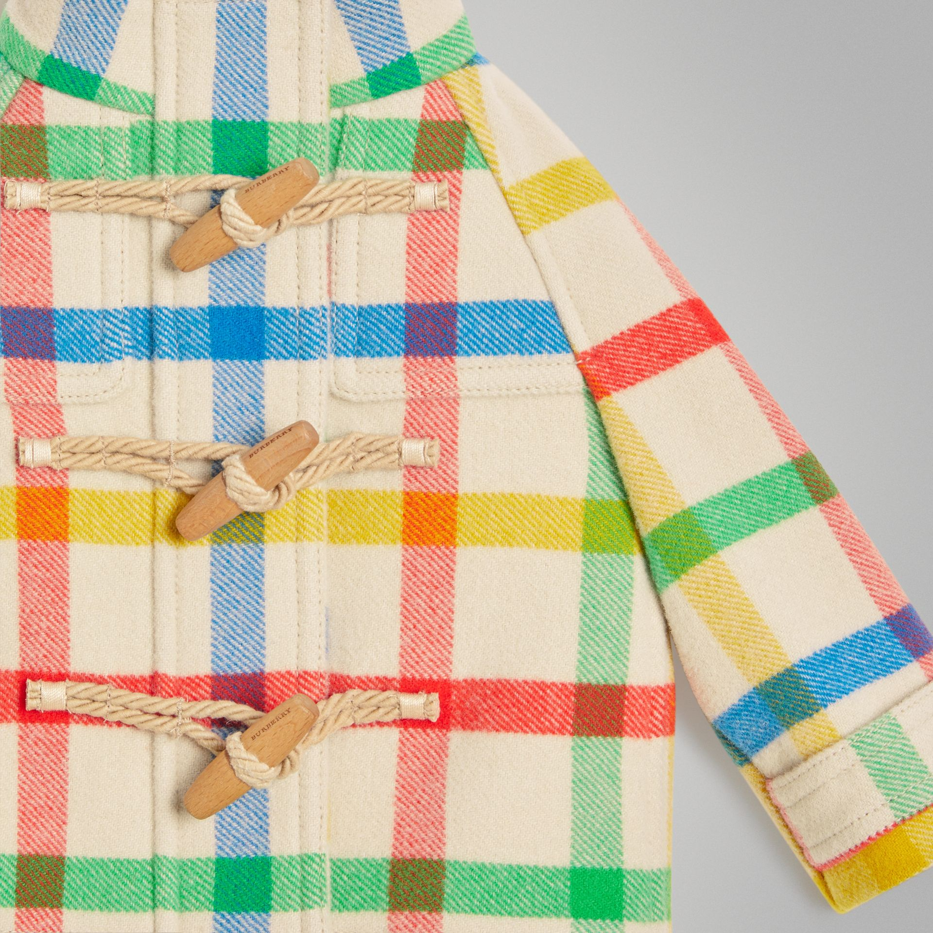 Duffle-coat en sergé de laine à motif check (Jaune Antique) - Enfant | Burberry - photo de la galerie 5
