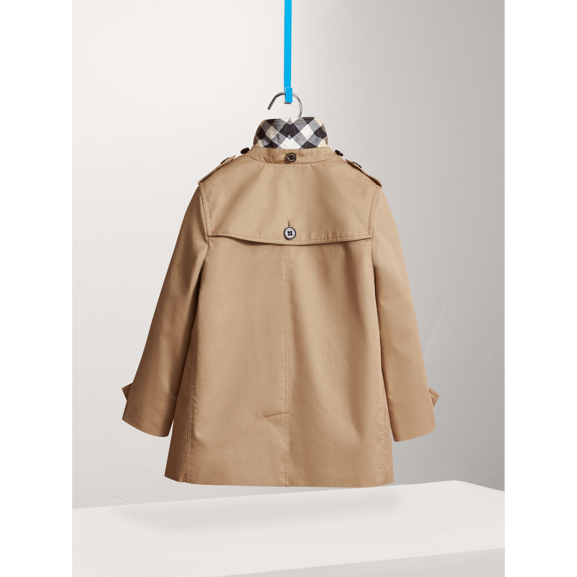 Detachable Hood Cotton Car Coat in Honey - Girl | Burberry - gallery image 2