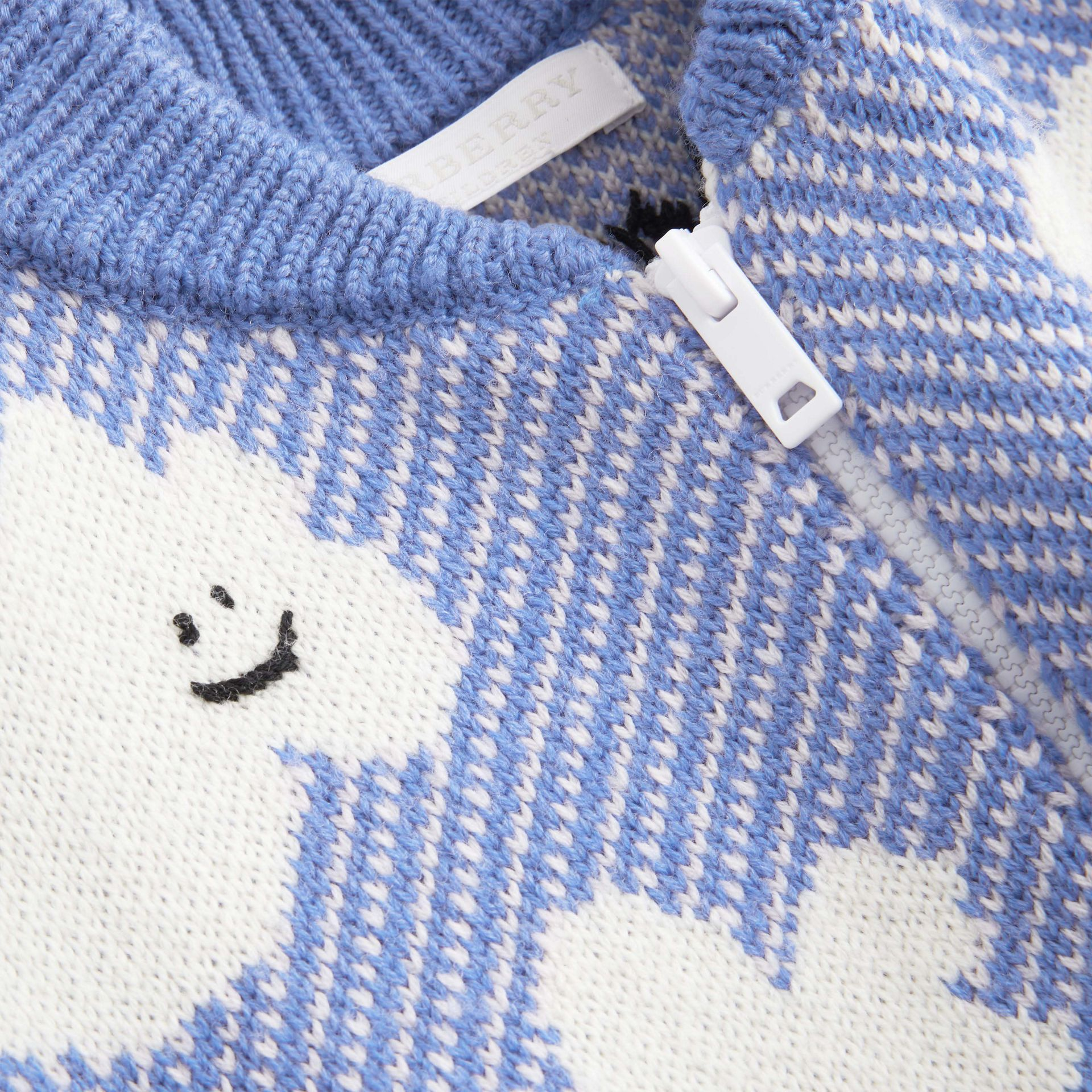 Cloud Jacquard Merino Wool Cardigan in Cornflower Blue - Children | Burberry - gallery image 1