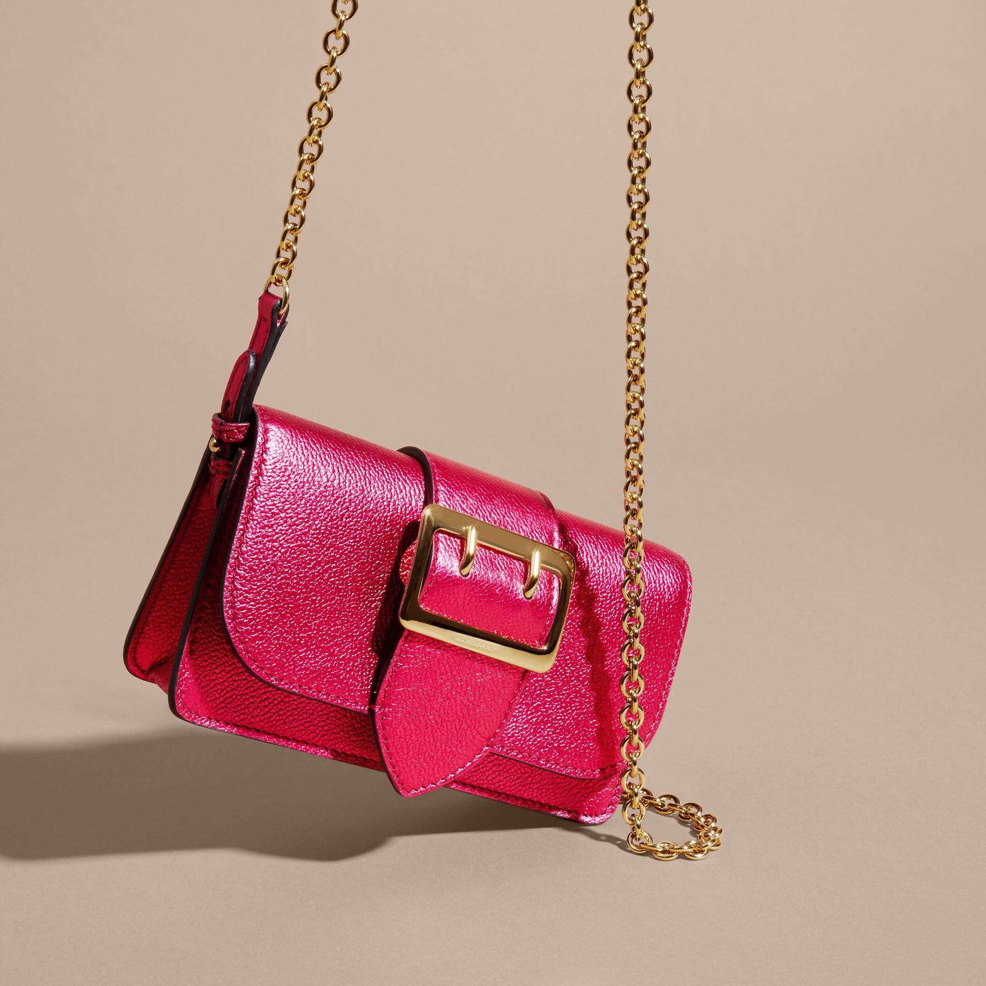 The Mini Buckle Bag in Metallic Grainy Leather in Bright Pink - gallery image 5