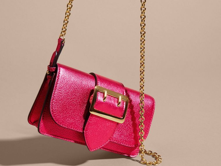 The Mini Buckle Bag in Metallic Grainy Leather in Bright Pink - cell image 4