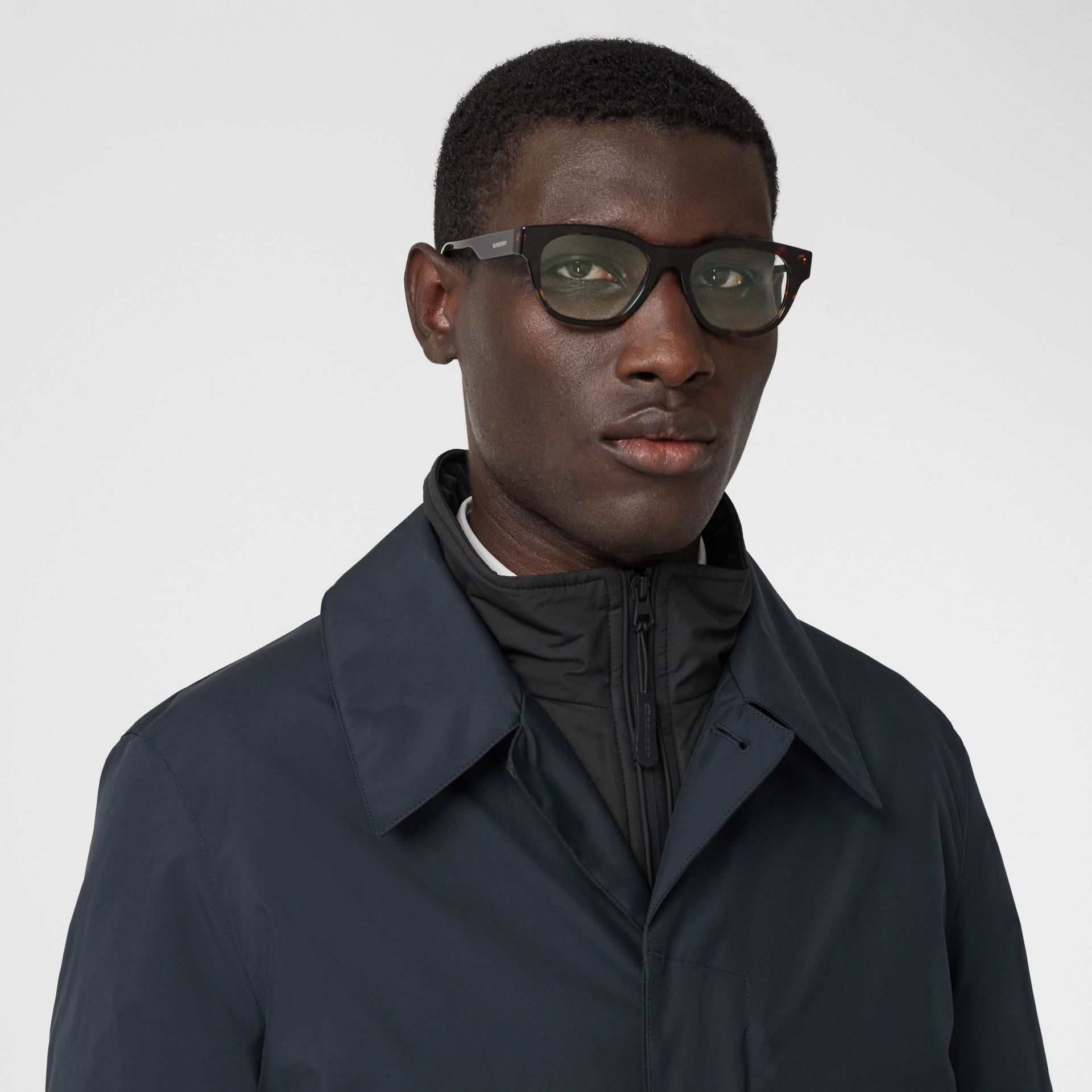Down-filled Car Coat with Detachable Warmer in Navy - Men | Burberry - gallery image 4