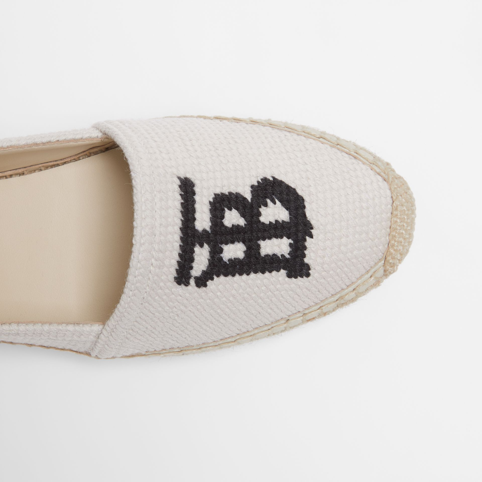 Monogram Motif Cotton and Leather Espadrilles in Ecru/black | Burberry United Kingdom - gallery image 1