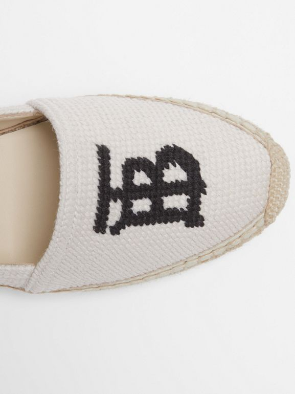Monogram Motif Cotton and Leather Espadrilles in Ecru/black | Burberry - cell image 1