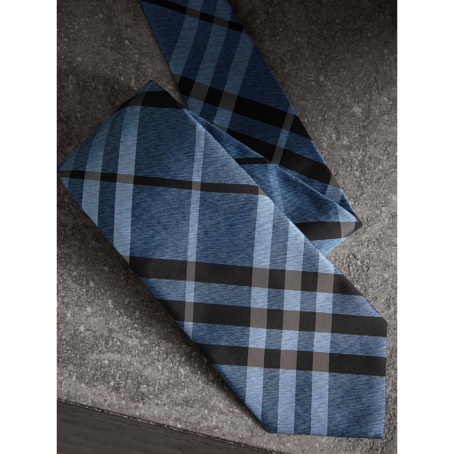 Classic Cut Check Silk Tie in Steel Blue - Men | Burberry United States - gallery image 1
