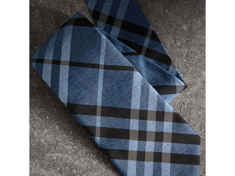 Classic Cut Check Silk Tie in Steel Blue - Men | Burberry United States - cell image 1