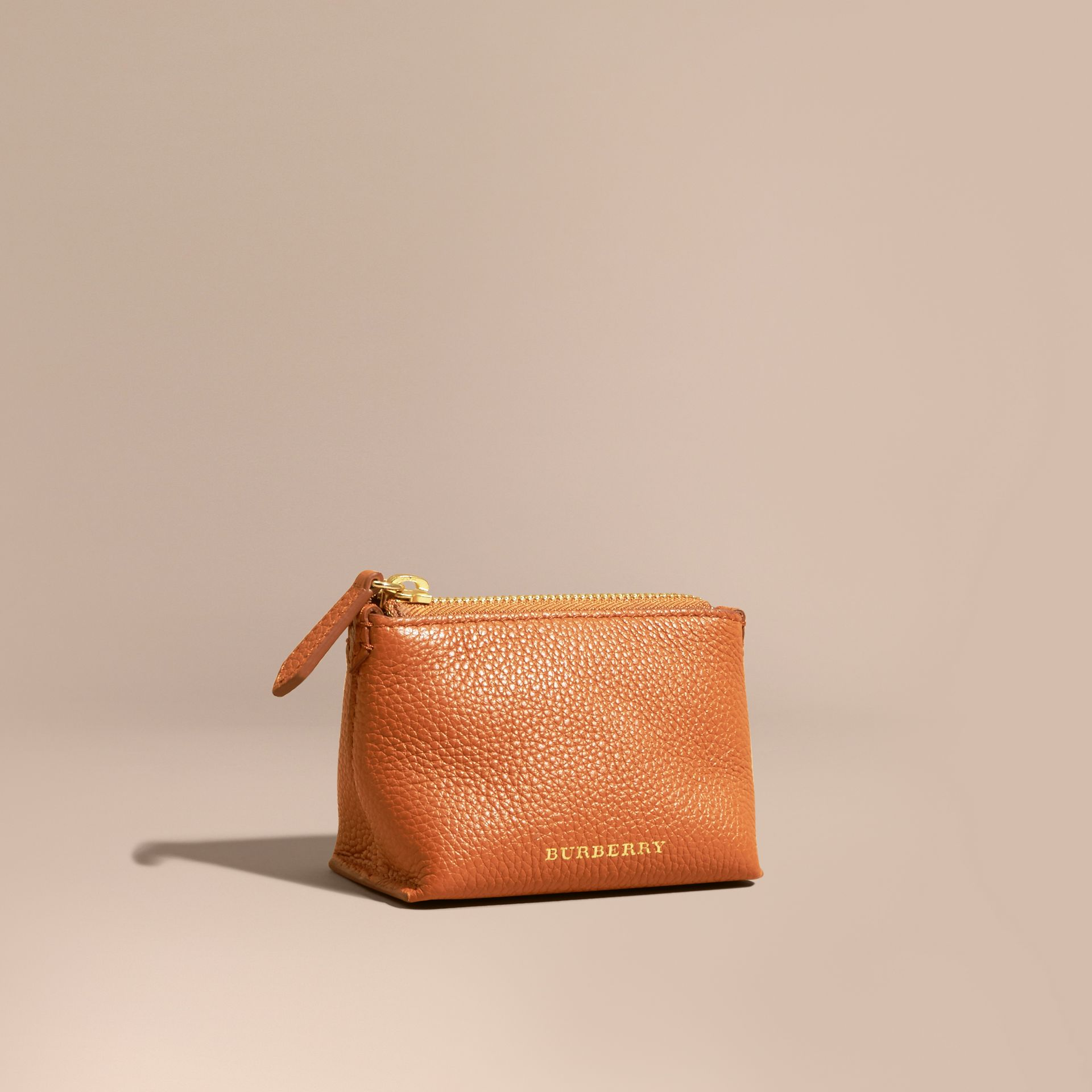 Grainy Leather Lipstick Case in Orange Umber - Women | Burberry - gallery image 1