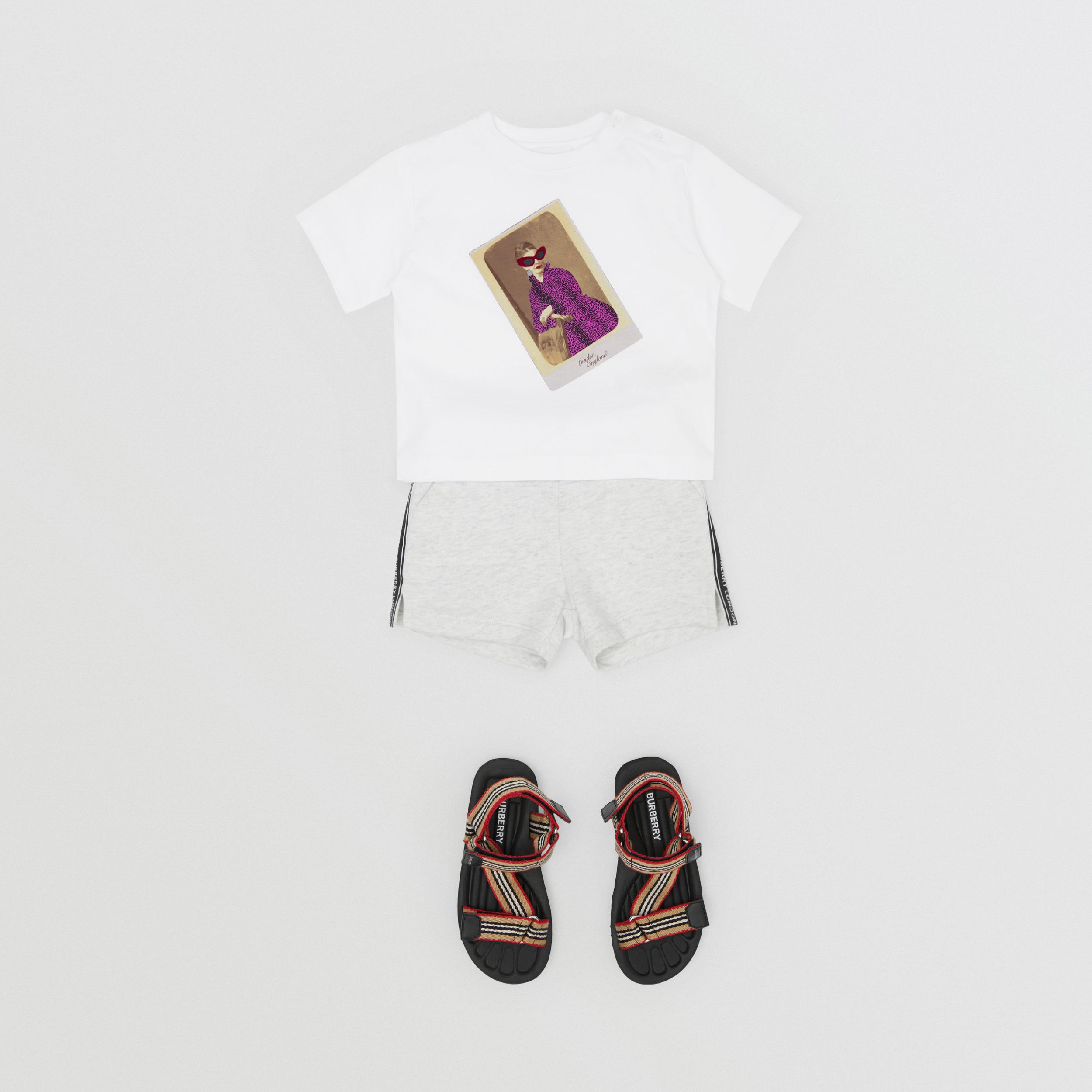 Collage Print Cotton T-shirt in White - Children | Burberry United States - 3