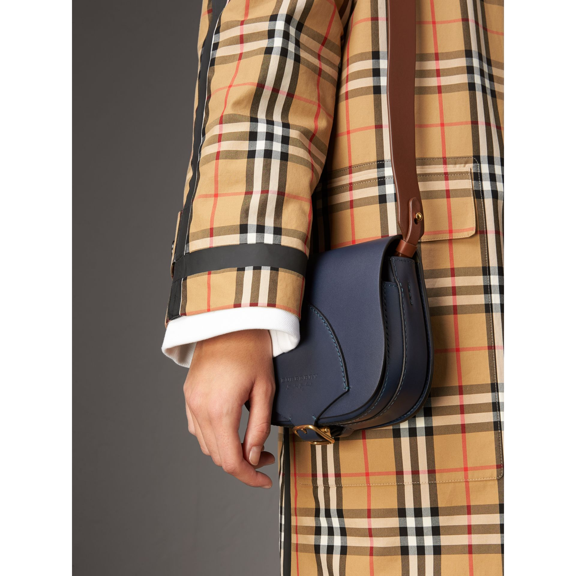The Satchel in Leather in Indigo - Women | Burberry United States - gallery image 3