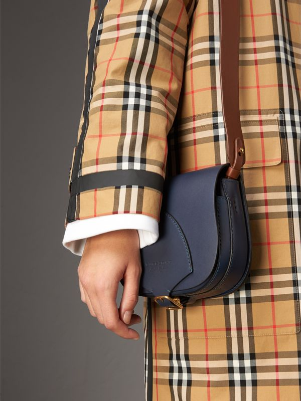 The Satchel in Leather in Indigo - Women | Burberry Australia - cell image 3