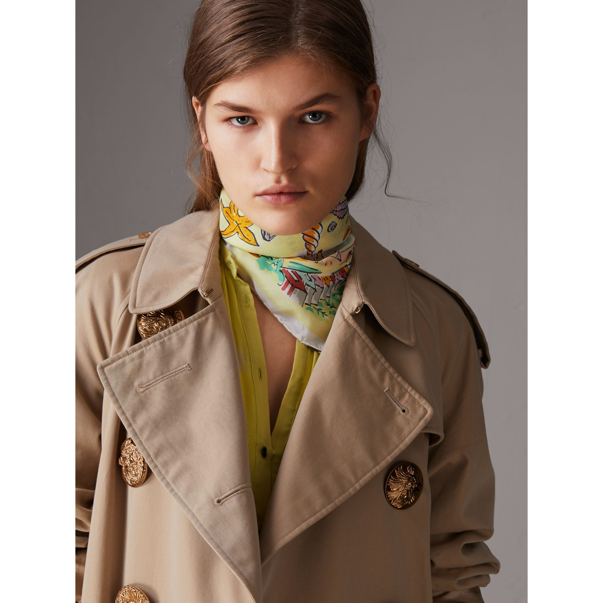 Seaside Print Silk Habotai Square Scarf in Pale Yellow - Women | Burberry - gallery image 3