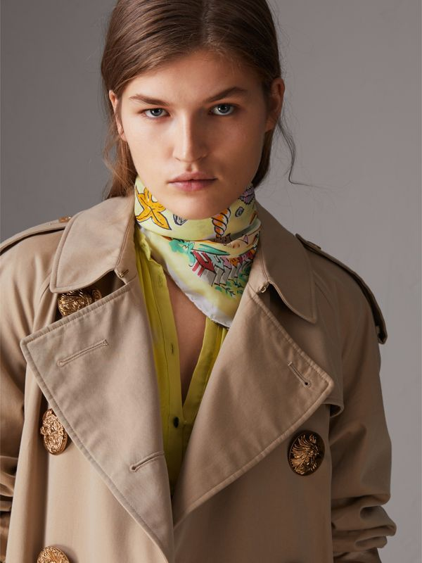 Seaside Print Silk Habotai Square Scarf in Pale Yellow - Women | Burberry - cell image 3