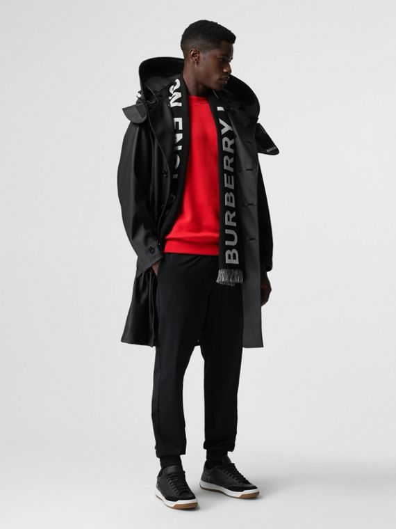 Structured Hood Scuba Parka in Black