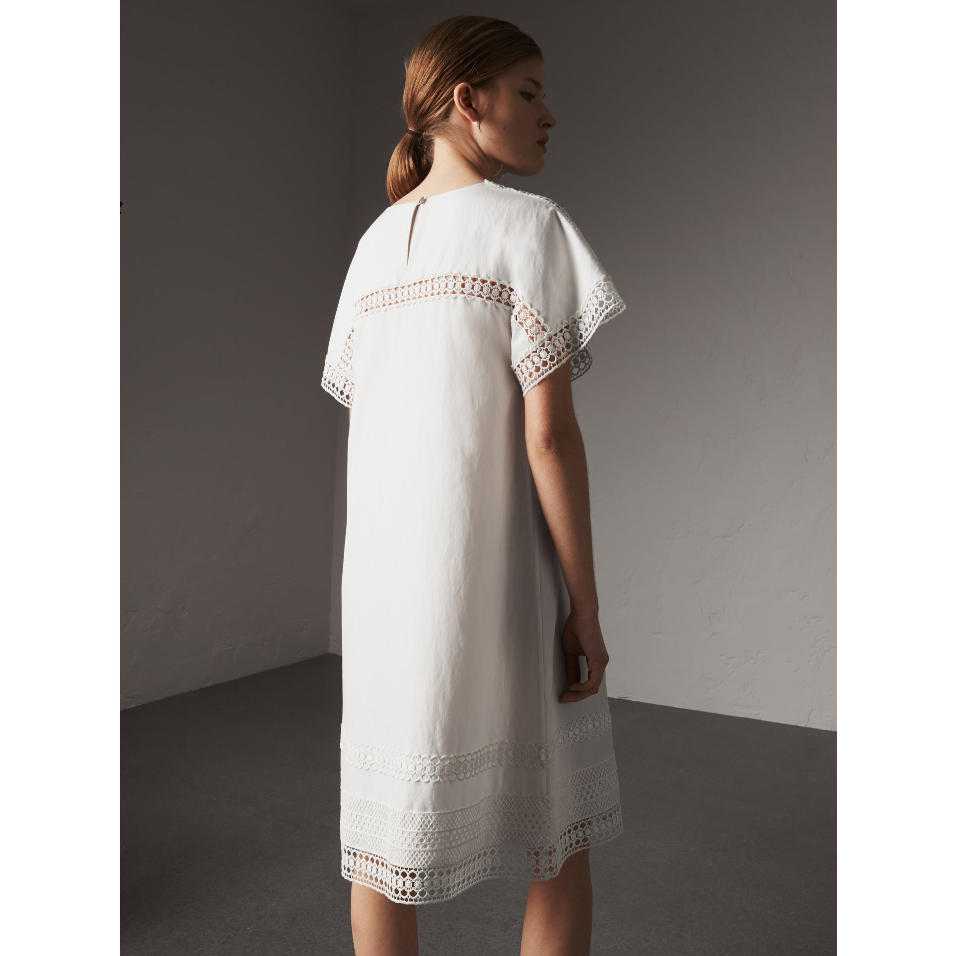 Macramé Lace Detail Silk Linen Cotton Dress - Women | Burberry - gallery image 3