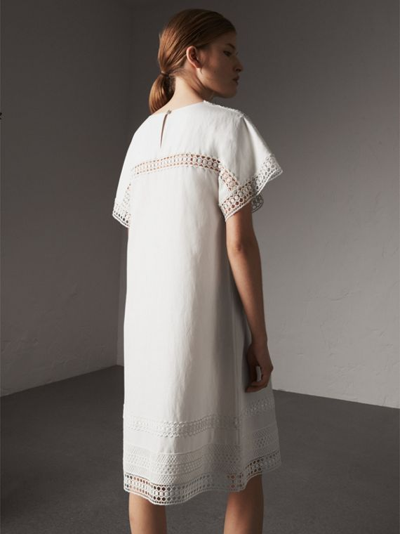 Macramé Lace Detail Silk Linen Cotton Dress - Women | Burberry Australia - cell image 2