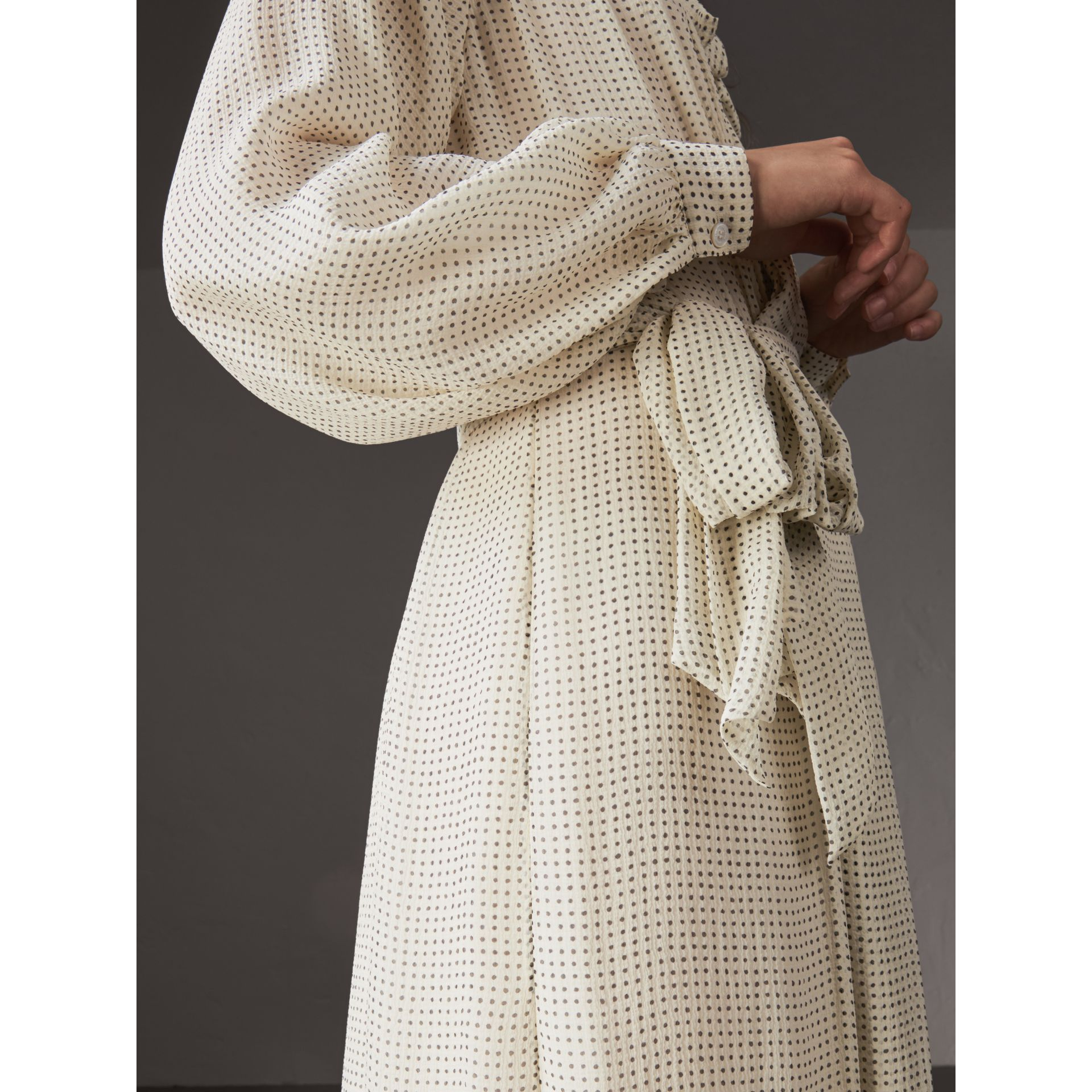 Polka-dot Silk Crepon Tie-neck Dress in Natural White/navy - Women | Burberry - gallery image 1