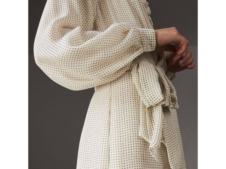 Polka-dot Silk Crepon Tie-neck Dress in Natural White/navy - Women | Burberry United States - cell image 1