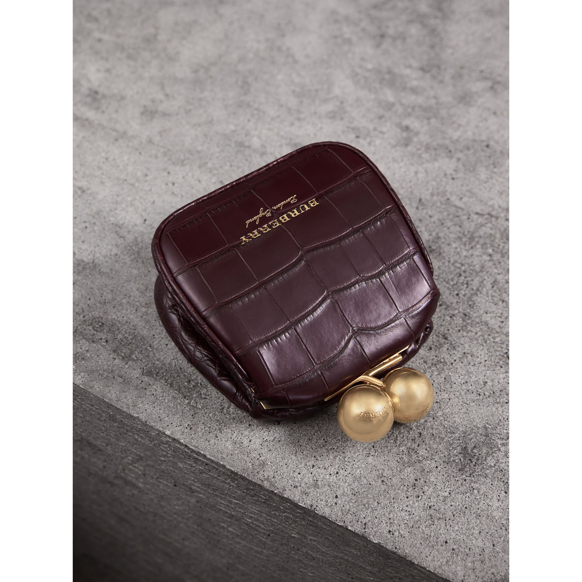 Mini Alligator Metal Frame Clutch Bag in Dark Claret - Women | Burberry United Kingdom - gallery image 3