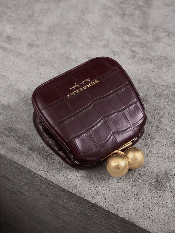 Mini Alligator Metal Frame Clutch Bag in Dark Claret - Women | Burberry - cell image 3