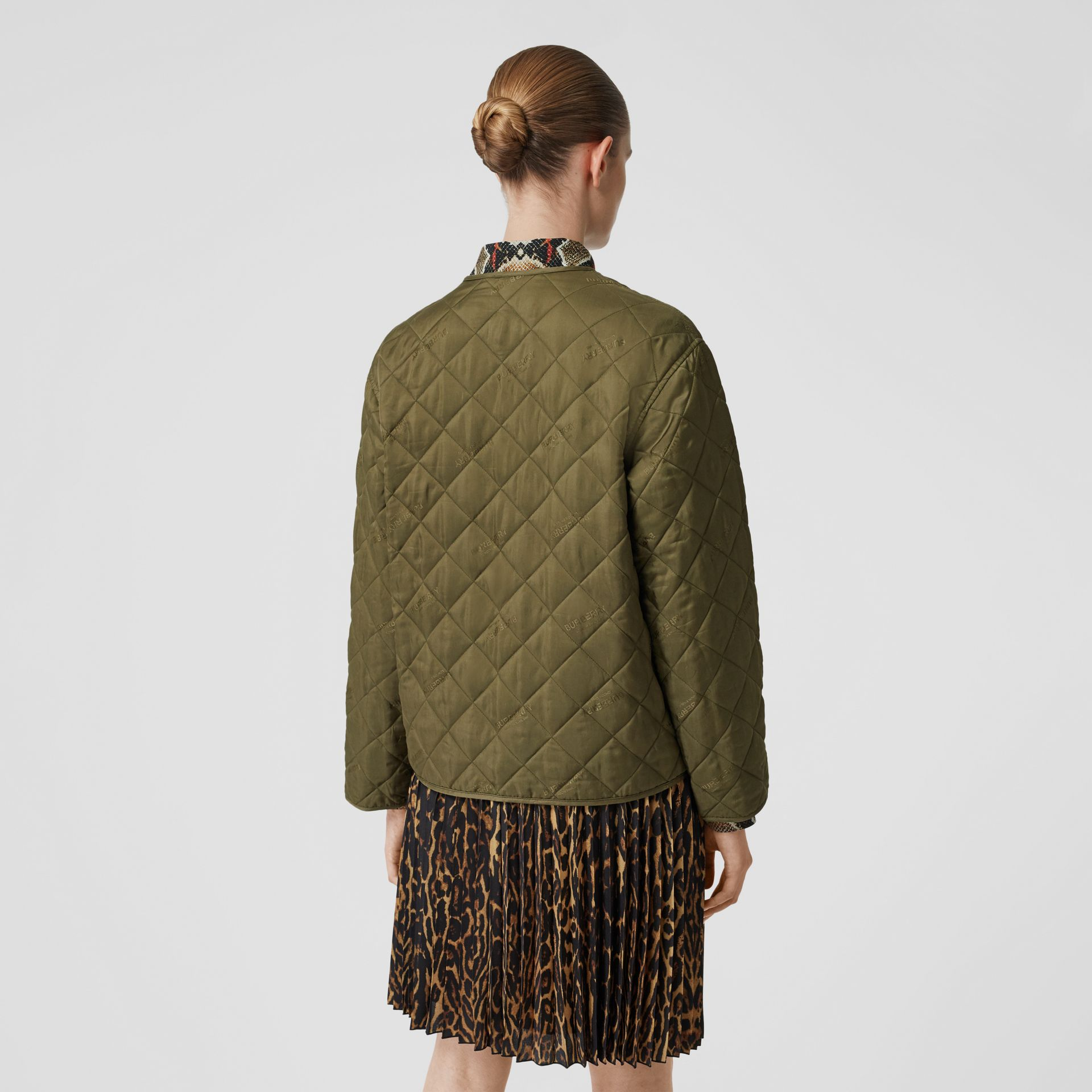 Logo Jacquard Diamond Quilted Jacket in Olive - Women | Burberry - gallery image 2