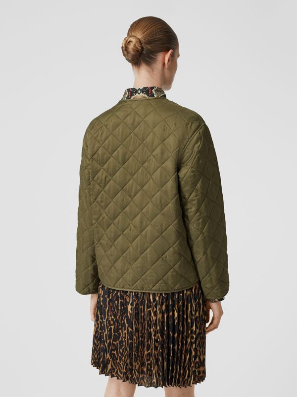 Logo Jacquard Diamond Quilted Jacket in Olive - Women | Burberry - cell image 2