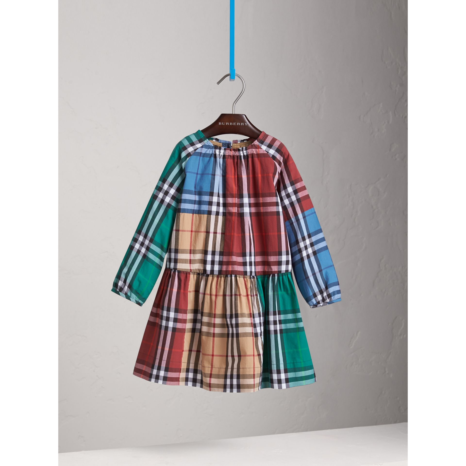 Colour Block Check Cotton Gathered Dress in Camel - Girl | Burberry - gallery image 3