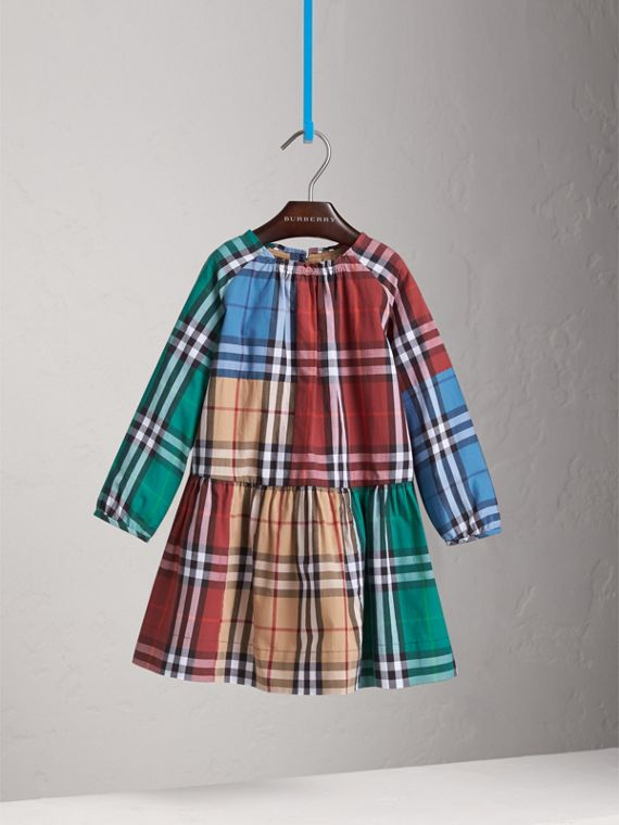 Colour Block Check Cotton Gathered Dress in Camel - Girl | Burberry - cell image 2
