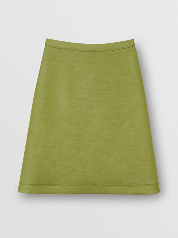 Double-faced Neoprene Skirt in Cedar Green - Women | Burberry - cell image 3