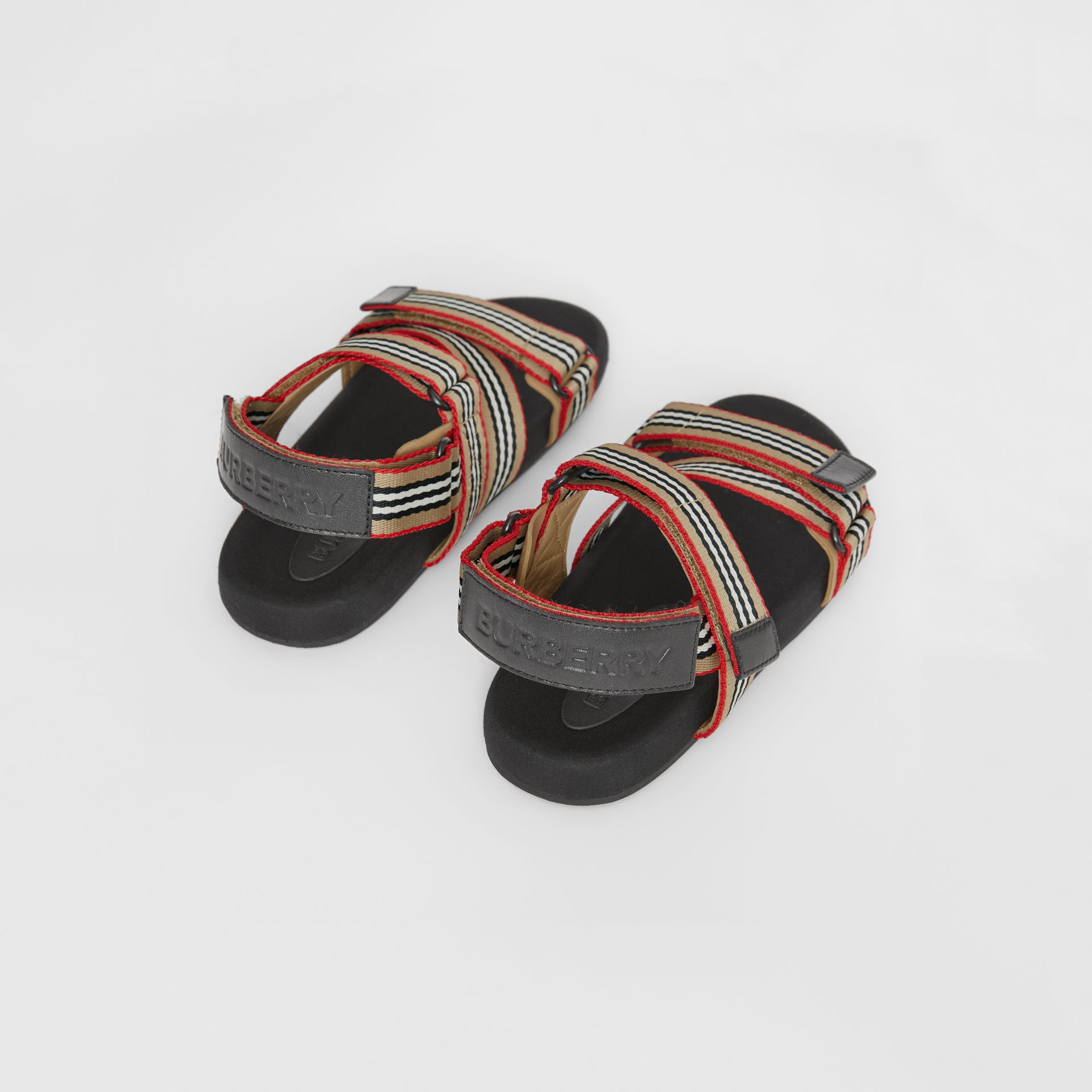 Ripstop Strap Icon Stripe Cotton Sandals in Archive Beige/black - Children | Burberry - gallery image 2