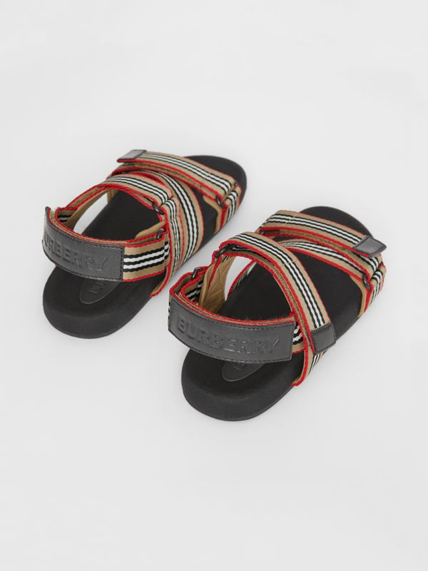 Ripstop Strap Icon Stripe Cotton Sandals in Archive Beige/black - Children | Burberry - cell image 2