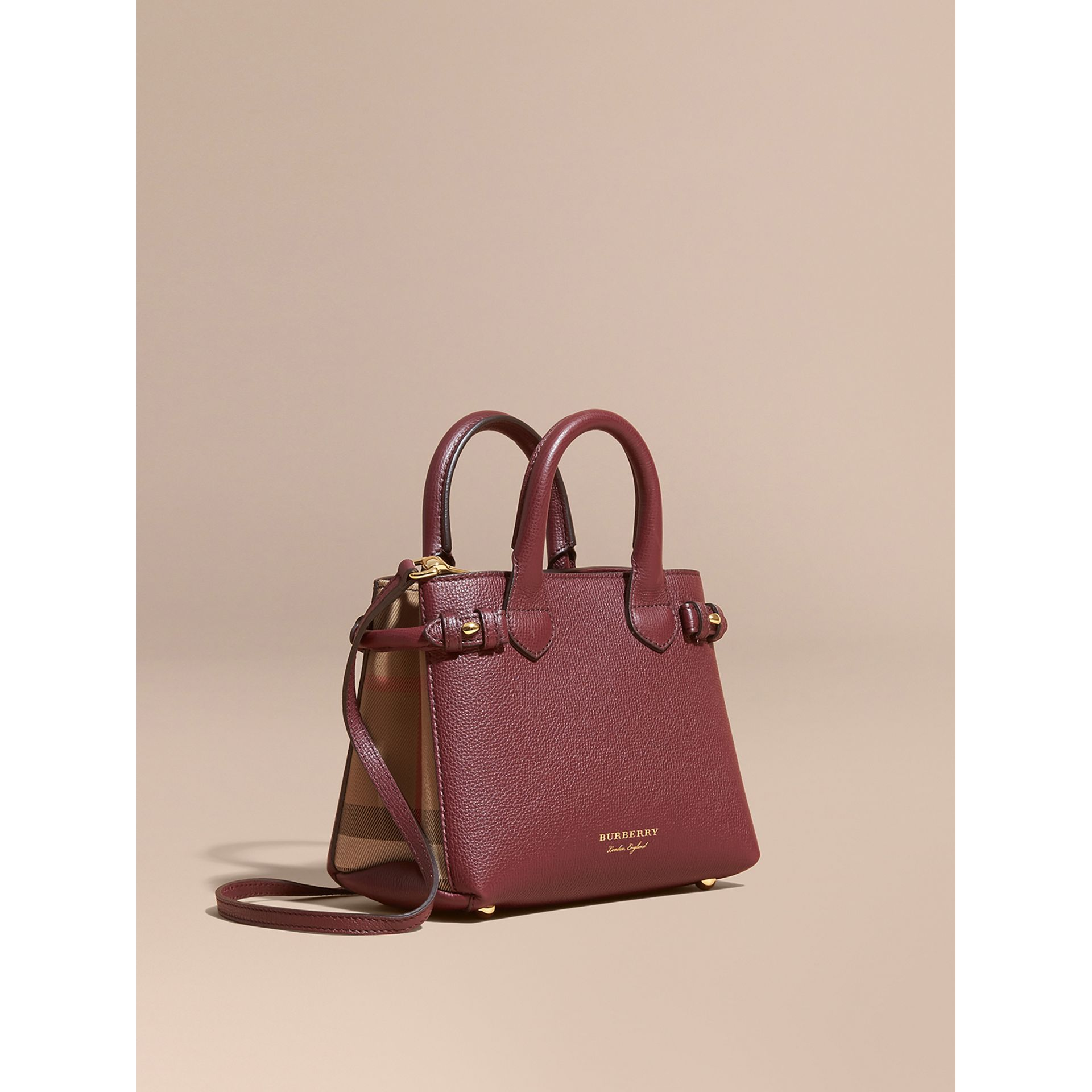 The Baby Banner in Leather and House Check in Mahogany Red - Women | Burberry - gallery image 1
