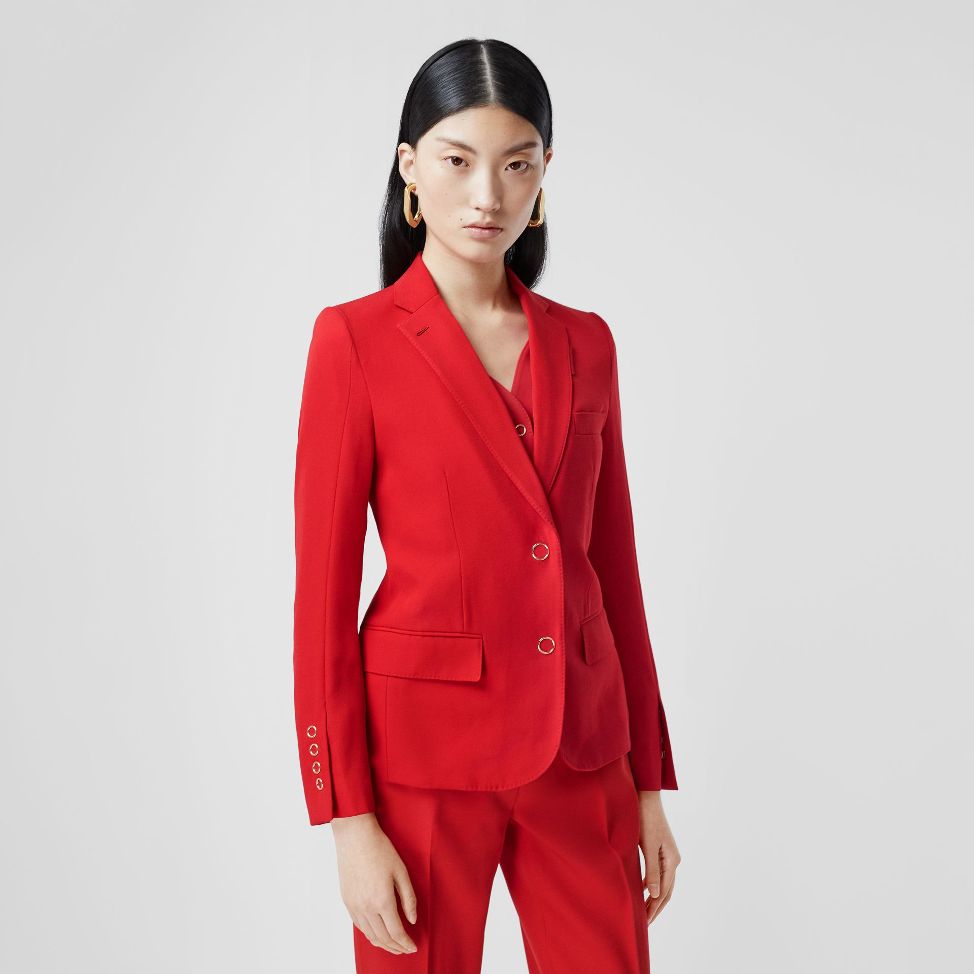 Waistcoat Panel Wool Tailored Jacket in Bright Red - Women | Burberry - gallery image 4