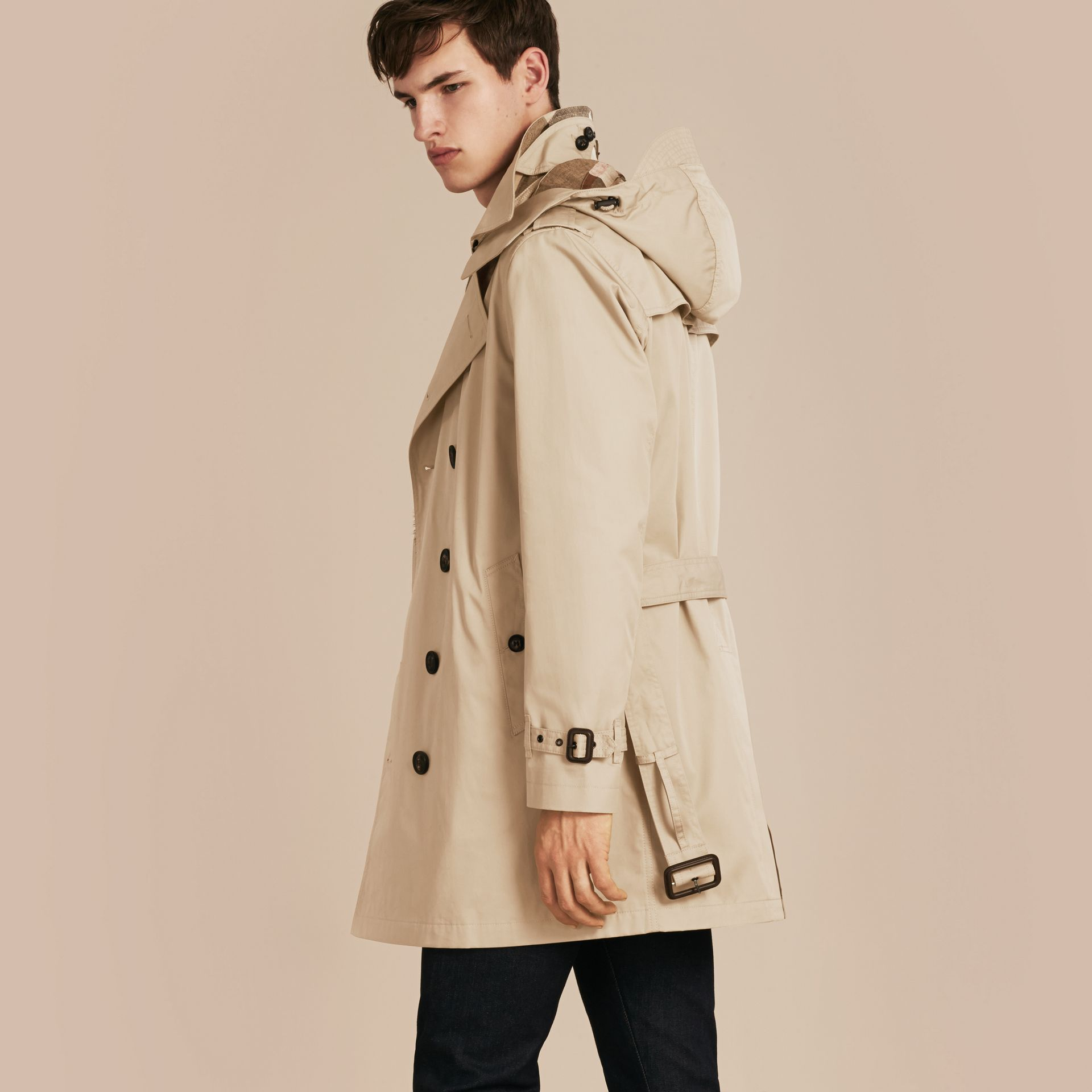 Taupe Cotton Trench Coat with Detachable Hood Taupe - gallery image 3